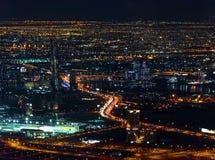 Colorful lights of Dubai at night Stock Photography