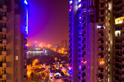 Colorful lights on noida skyscraper Royalty Free Stock Image