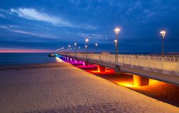 Colorful lights on the pier in the evening, Kolobrzeg, Poland Royalty Free Stock Photo