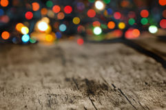 Colorful lights on a plank Stock Image