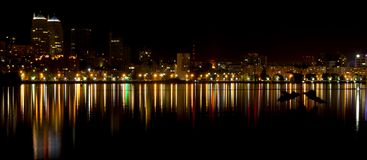 Colorful lights and the reflection of the night metropolis. Ukraine, the Dnieper royalty free stock photo