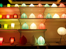 Colorful lights on the shelf. Colorful blurry lights as abstract background Stock Photography