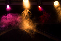 Colorful lights with smoke in club, concert. Equipment Stock Photography