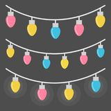 Colorful lights on string, vector illustration. Colorful lights on string vector illustration. Pink, blue and yellow light bulbs on grey string, isolated on grey Royalty Free Stock Photo
