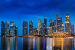 Colorful lights of urban city and business downtown of Singapore Royalty Free Stock Photo