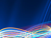 Colorful lightwaves on dark blue background Royalty Free Stock Photography