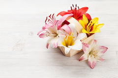 Colorful lily flowers basket Royalty Free Stock Image