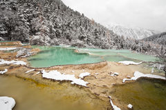Colorful limestone pools at huanglong Stock Image