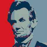 Colorful lincoln portrait illustration. Hand drawn portrait first, and then composed with photoshop Stock Photos