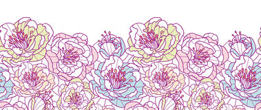 Colorful line art flowers horizontal seamless Royalty Free Stock Image