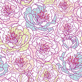 Colorful line art flowers seamless pattern Stock Photos