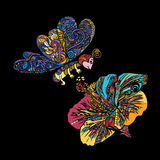 Colorful line art of flying butterfly with Chinese rose flower. Colorful line art of flying butterfly with Chinese rose or Hibiscus flower on black Stock Images
