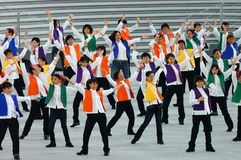 Colorful line dancers Royalty Free Stock Images