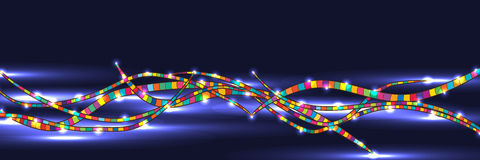 Colorful line dark bright banner Stock Photo