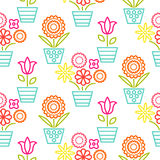 Colorful line flower pots seamless vector. Floral outline feminine background texture Royalty Free Stock Photography