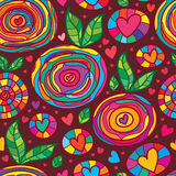 Colorful line love plant diagonal seamless pattern Royalty Free Stock Photography