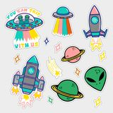 Set stickers or patches on space topic. Colorful line set icons with patches stickers with stars alien UFO spaceships planets. Modern vector style mascot logo Royalty Free Stock Images