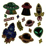 Set stickers or patches on space topic. Colorful line set icons with patches stickers with stars alien UFO spaceships planets. Modern vector style mascot logo Stock Image