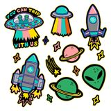Set stickers or patches on space topic. Colorful line set icons with patches stickers with stars alien UFO spaceships planets. Modern vector style mascot logo Royalty Free Stock Photography