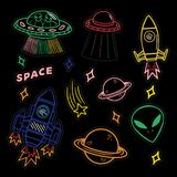 Set stickers or patches on space topic. Colorful line set icons with patches stickers with stars alien UFO spaceships planets. Modern vector style mascot logo Stock Images