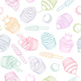 Colorful linear cupcake lollipop marshmallow seamless vector pattern. Colorful linear cupcake lollipop marshmallow vector seamless pattern Stock Images