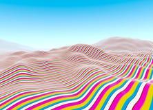 Colorful linear landscape blue sky Stock Photography