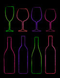 Colorful linear set of bottle and glass Royalty Free Stock Images
