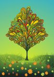 Colorful lineart tree & flowers vector illustration