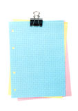Colorful lined office paper with clip Stock Image