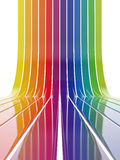 Colorful lines. 3d illustration of colorful lines going up on white background Stock Photography