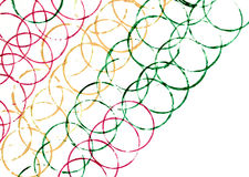Colorful lines of circles in slanting perspective. Colorful lines of many circles in slanting perspective Royalty Free Stock Photos