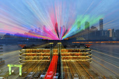 Colorful lines and night view Stock Photos