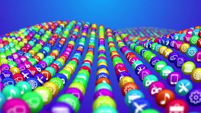 Colorful Lines of Social News Balls. A concave 3d illustration of multicolored social mass media balls situated in lines in the blue background. They offer Royalty Free Stock Photo