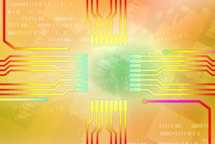 Colorful lines tending to the center chip. Royalty Free Stock Photo
