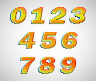 Colorful lines vector numbers Royalty Free Stock Images