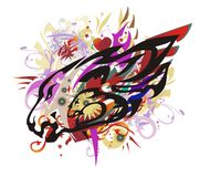 Colorful lion head splashes with red hearts Stock Image