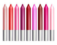 Colorful lip gloss pencils set. Makeup cosmetics vector illustration royalty free illustration