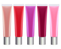 Colorful lip gloss tubes set Stock Photos