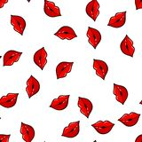 Colorful lips seamless pattern on white background. Paper print design. Abstract retro vector illustration. Trendy textile, fabric royalty free stock photo