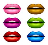 Colorful lips set. On a white background Royalty Free Stock Photo