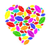 Colorful lipstick heart Stock Photos