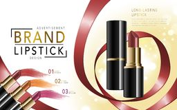 Colorful lipstick mockup. Makeup ads template, colorful lipstick mockup with sparkling background, 3d illustration, with ribbon elements Royalty Free Stock Photography