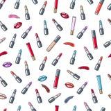 Colorful lipsticks, lipgloss, lips and smears seamless pattern. Stock Photo
