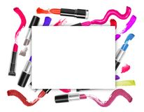 Colorful lipsticks with promotion square frame Royalty Free Stock Photo