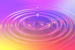 Colorful liquid drop or paint drop falling on color surface. Rainbow colored ripple splash of dye, macro image. Graphic design element for poster, package Stock Images