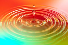Colorful liquid drop or paint drop falling on color surface. Rainbow colored ripple splash of dye, macro image. Graphic design element for poster, package Royalty Free Stock Photo