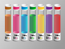 Colorful liquid in a glass tubes with 75 percent. Royalty Free Stock Photo