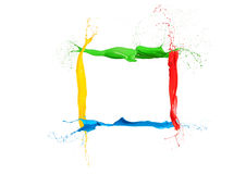 Colorful liquid paint splashes frame mixed colors royalty free stock images