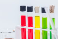Colorful liquid in test tubes on rack. Close up of colorful liquid in test tubes on rack Royalty Free Stock Photography