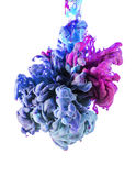 Colorful liquids underwater. Blue and pink colors mix . Colors drop underwater. Liquid colors in central composition. Blue and pink colors mix. Isolated on stock image